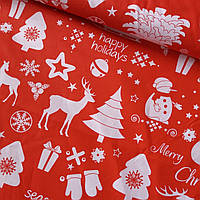 Хлопковая ткань новогодняя с елками и оленями на красном, ш. 160 см, фото 1