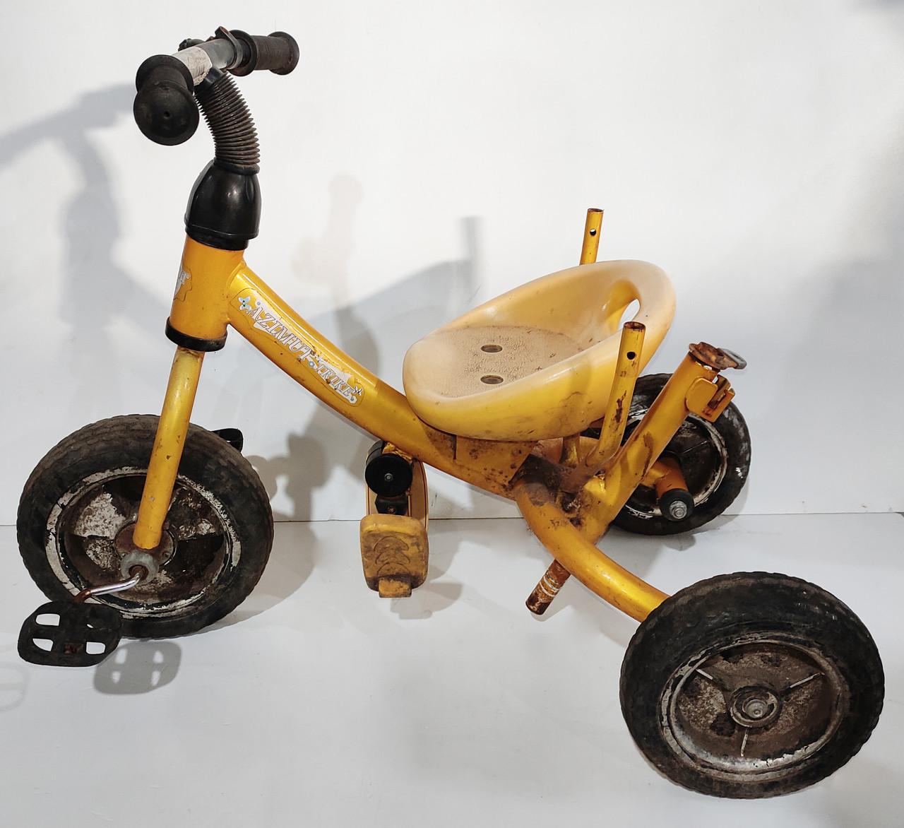 Б/У Велосипед трехколесный Azimut Trike желтый, без родительской ручки и без защитного тента