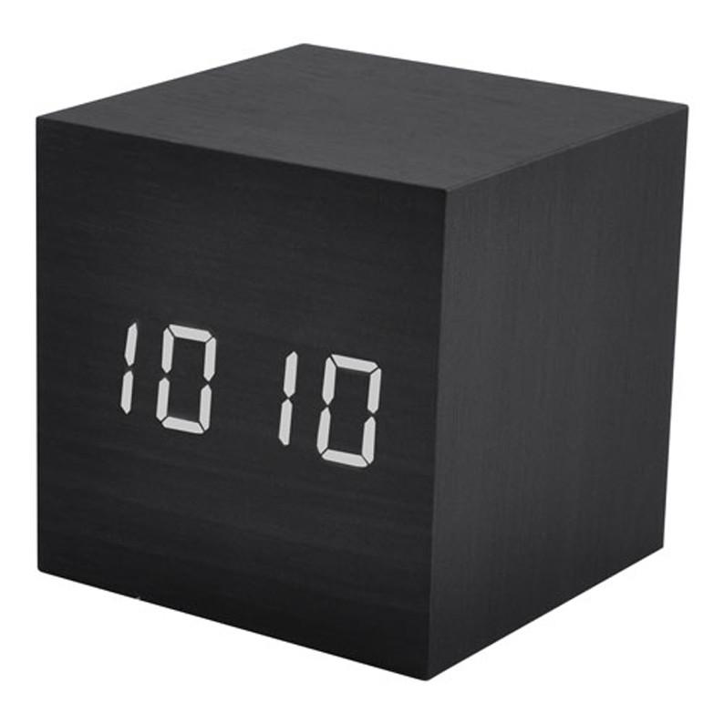 Часы сетевые VST-869-6 белые, температура, USB, черный