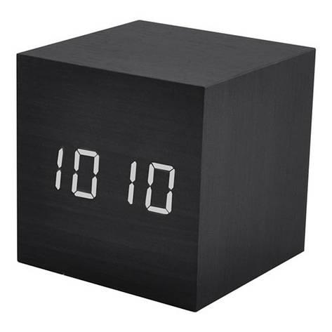 Часы сетевые VST-869-6 белые, температура, USB, черный, фото 2