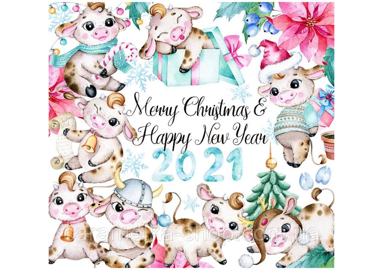 Вафельна картинка бичок, новорічна, 2021 символ року