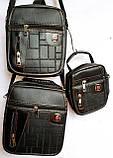 Мужские черные барсетки 3 в 1, в комплекте 3 барсетки разных размеров (20*23; 18*22; 12*16), фото 2