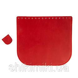Клапан для сумки из натуральной кожи (20*18), цвет красный матовый