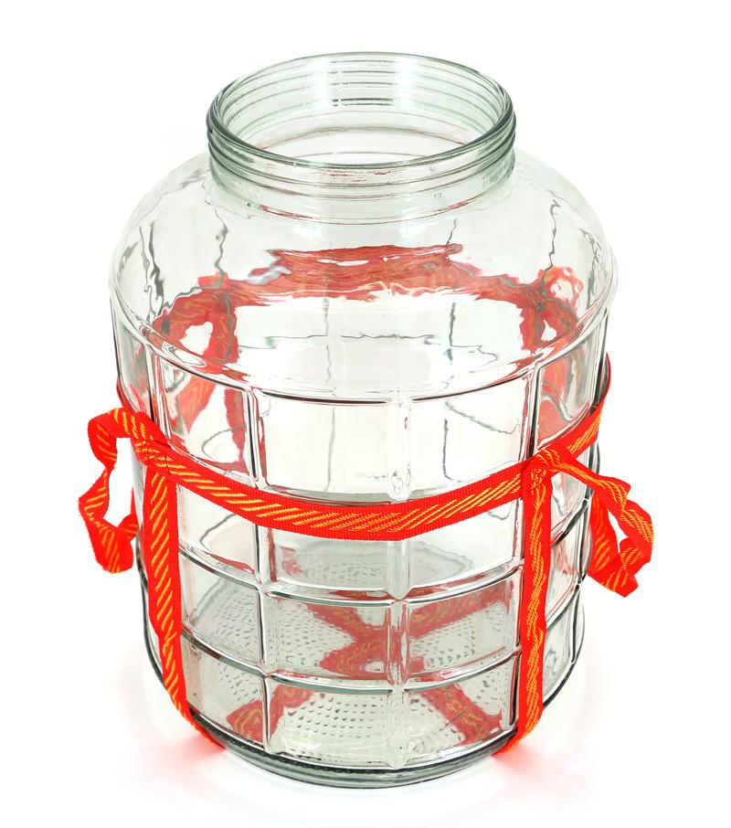 Бутыль стеклянная для вина с широким горлом + гидрозатвор, 5.7л
