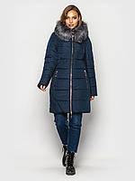 Зимняя женская куртка большие размеры пуховик синяя