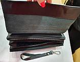 Мужской черный кошелек-клатч из кожзама с клапаном на магнитах 23*14 см, фото 2