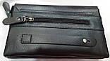 Мужской черный кошелек-клатч из кожзама с клапаном на магнитах 23*14 см, фото 4