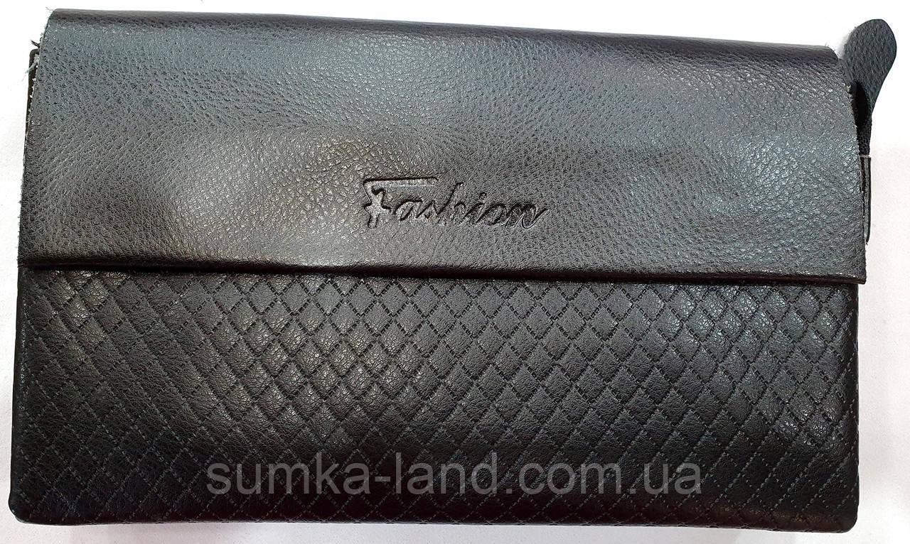 Мужской черный кошелек-клатч из кожзама с клапаном на магнитах 23*14 см
