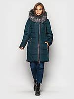 Зимняя женская куртка пуховик большие размеры зеленая