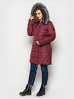 Зимняя женская куртка бордовая пуховик большие размеры