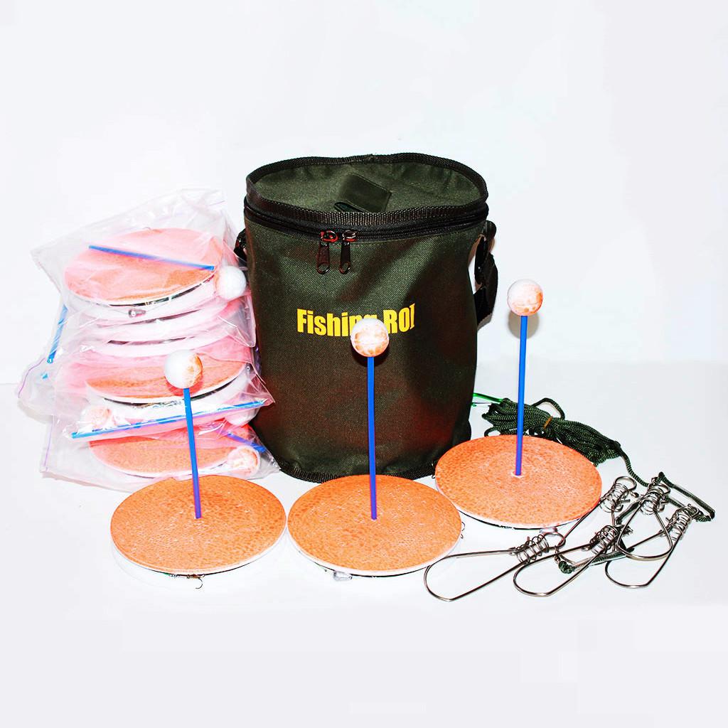 Кружки(щуколовки, поставушка) оснащенные (10 шт.) в сумке + кукан