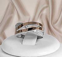Срібне кільце вензель з золотими пластинами Агата, фото 1