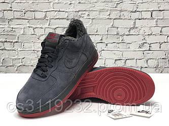 Чоловічі зимові кросівки Nike Air Force (хутро) (сірі)