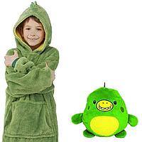 Детская толстовка-халат худи плед трансформер с капюшоном и рукавами Huggle Pets Hoodie
