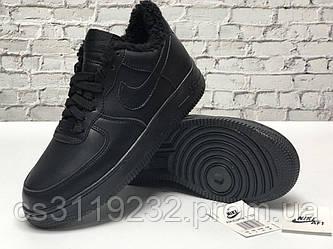 Мужские кроссовки зимние Nike Air Force (мех) (черные)