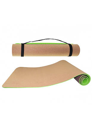 Коврик (мат) для йоги и фитнеса SportVida TPE+Cork 0.4 см SV-HK0317, фото 2