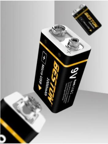 Аккумулятор USB 9v Beston крона 1000mAh