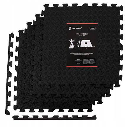 Мат-пазл (ласточкин хвост) Springos Mat Puzzle EVA 120 x 120 x 1.2 cм FM0004 Black, фото 2