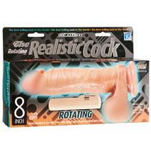 Фаллос с ротацией реалистичный с мошонкой на присоске виниловый на пульте REALISTIC COCK ROTATING 8 -