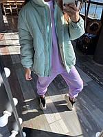 Женская объемная демисезонная куртка мята
