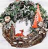 Новогодний венок с оленем Лесная сказка  d -40 см Ручная работа