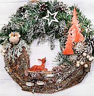 Новогодний венок с оленем Лесная сказка  d -40 см Ручная работа, фото 1