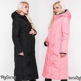 Зимнее пальто для беременных TOKYO OW-48.062, черное с розовым