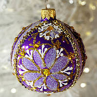 """Новогоднее стеклянное украшение 80 мм """"Сказочные цветы"""""""