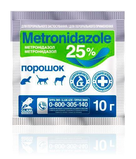 Метронидазол 25% порошок, 10 г, O.L.KAR. (Олкар)