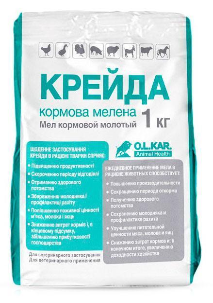 Мел кормовой молотый, 1 кг, O.L.KAR (Олкар)