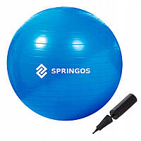 Мяч для фитнеса (фитбол) шар Springos 85 см Anti-Burst FB0009 синий. Гимнастический мяч спортивный