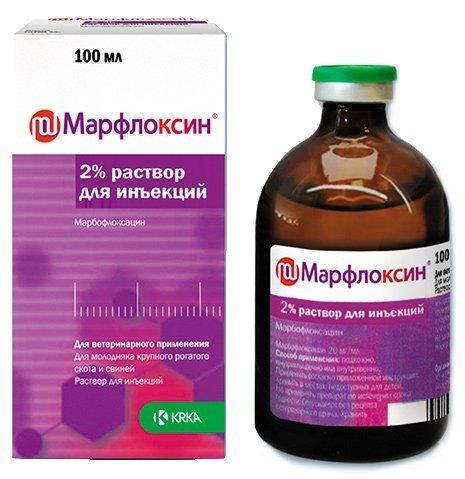 Марфлоксин 2% раствор для инъекций, 100 мл, КRКА
