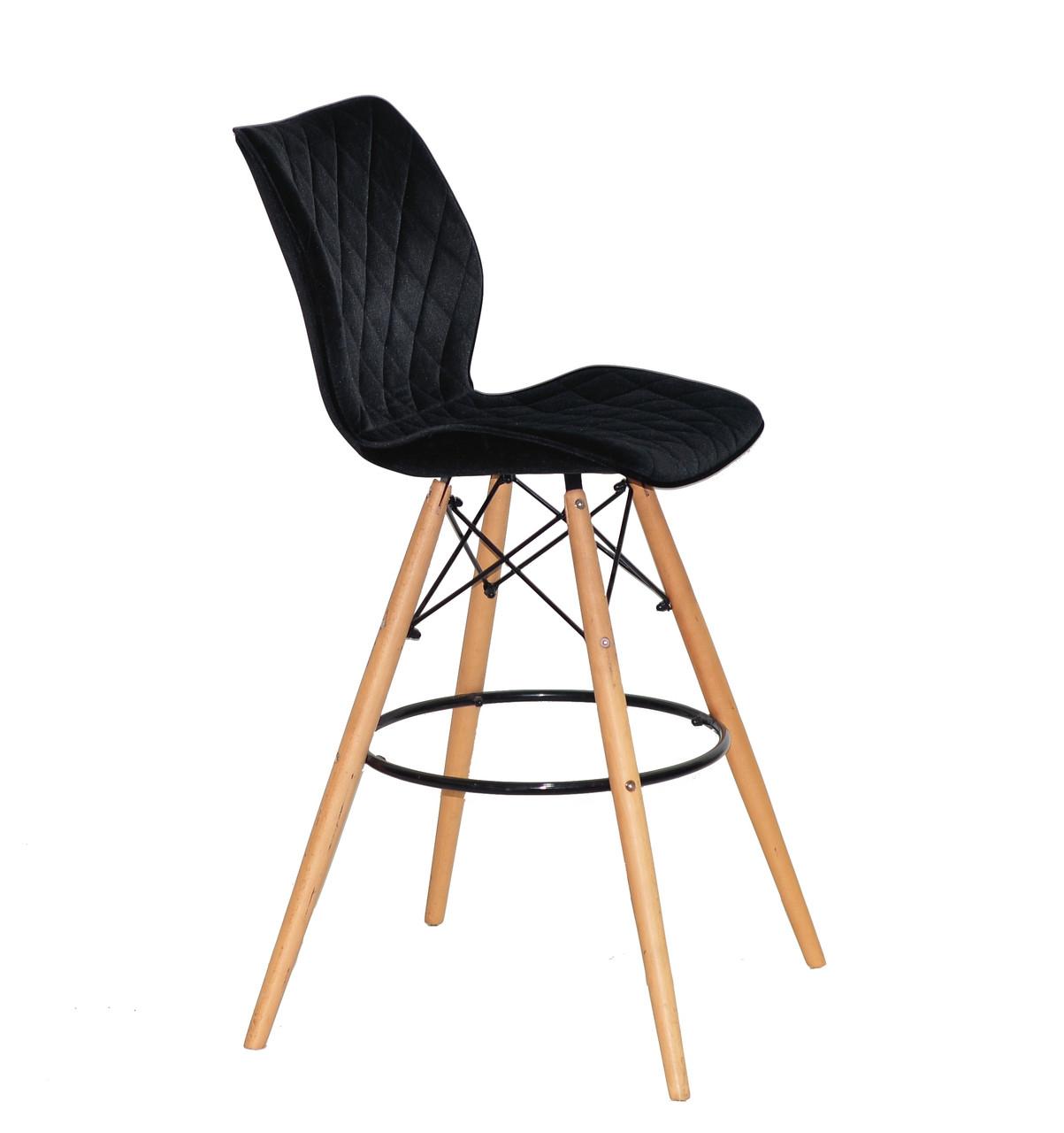 Барный стул бархатный черный на деревянных ножках Nolan Bar 75см.
