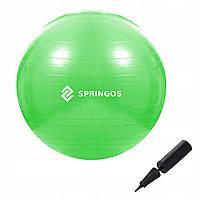 Мяч для фитнеса (фитбол) шар Springos 65 см Anti-Burst FB0007 зеленый. Гимнастический мяч спортивный