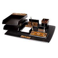Деревянный настольный набор на 7 предметов черный