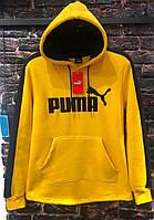 Мужская теплая кофта-худи Пума желтого цвета