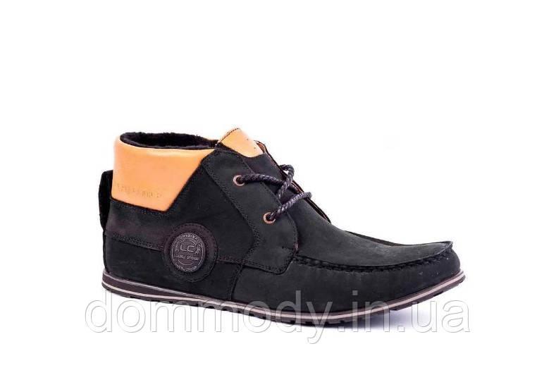 Ботинки мужские из нубука Bray black зимние