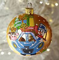 """Новогодний ёлочный шар 80 мм, символ года """"Бычок в машине"""""""
