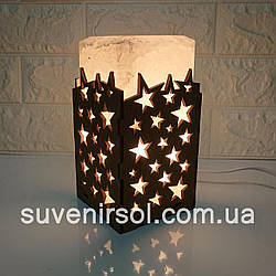 Соляной светильник  Прямоугольник в дереве Звёзды