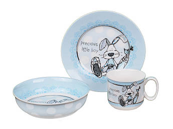 Набір дитячого посуду для хлопчика Зайчик 3пр