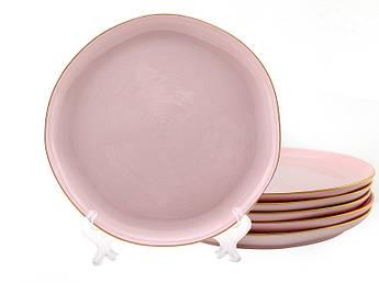 Мятые тарелки розовые Пудра 200мм 6шт