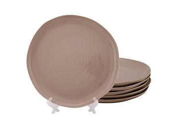 Мятые тарелки коричневые Нюд 200мм 6шт
