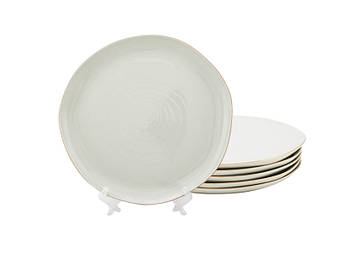 Мятые белые тарелки Бэсик 200мм 6шт