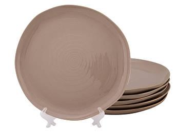 Большие мятые тарелки коричневые Нюд 260мм 6шт