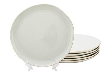 Большие мятые белые тарелки Бэсик 260мм 6шт