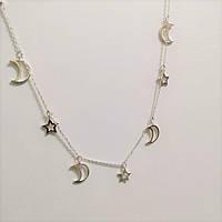 Серебряная цепочка-колье Луна и Звёзды, фото 1