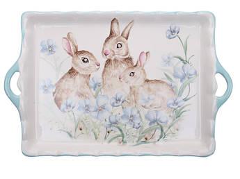 Блюдо с ручками Пасхальный кролик керамика 36см 358-962