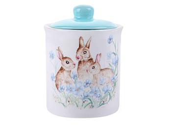 Тематична великодній посуд Банку для зберігання Великодні кролики кераміка 14см 560мл