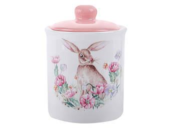 Декоративна великодній посуд Банку для зберігання Великодній кролик кераміка 14см 560мл