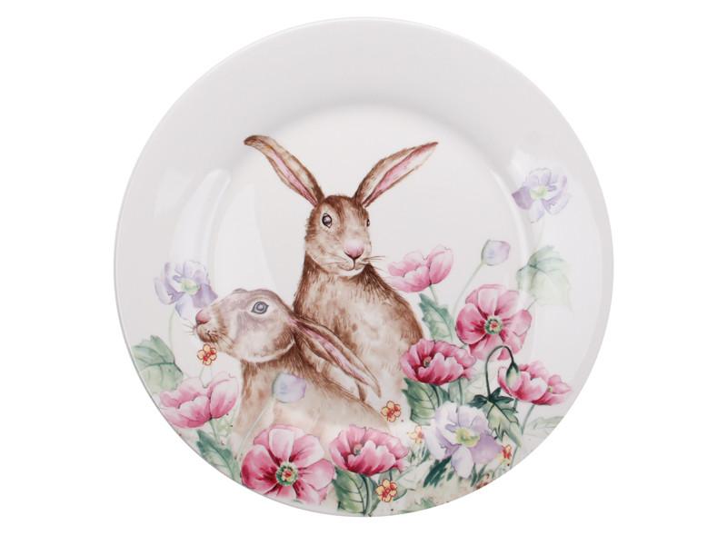 Посуд на великдень тарілка великодній кролики кераміка 25см
